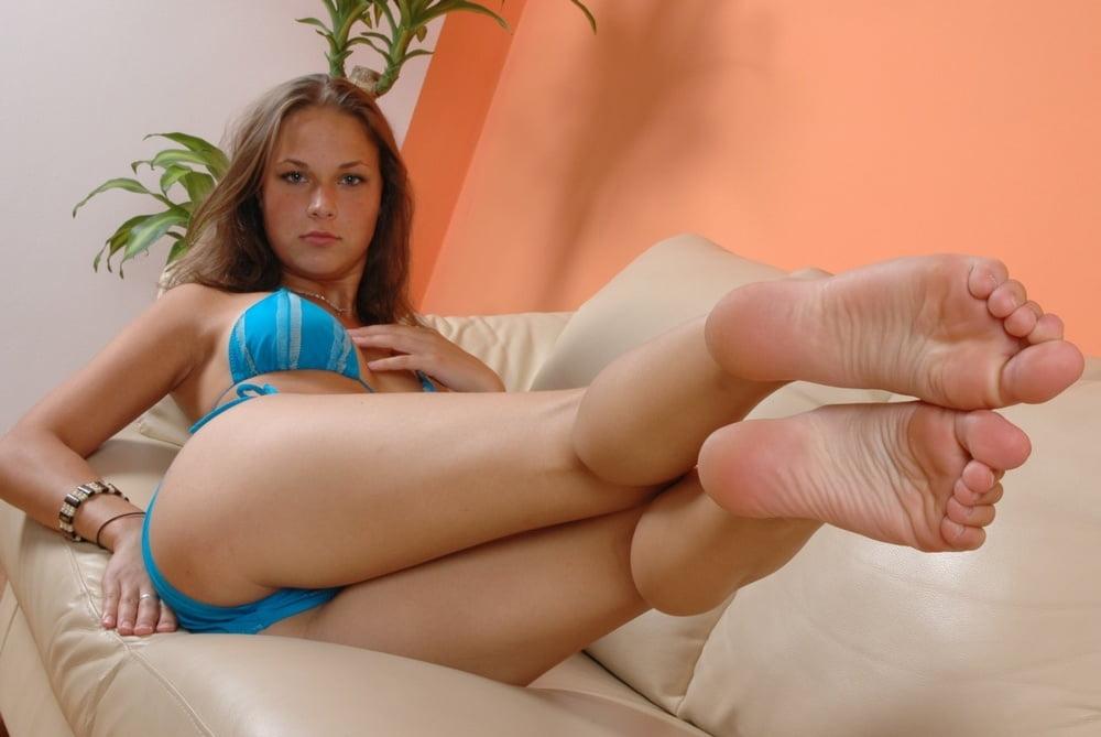 Young Girl Sitting One Leg Gymnastics Stock Photo