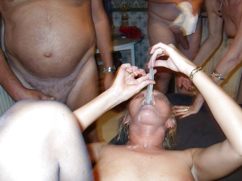 Swinger wife bukkake amateur cum party