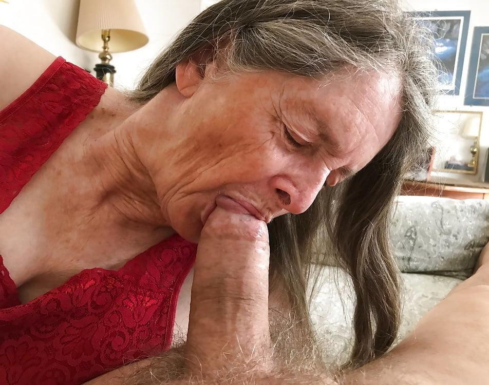 Bound granny blowjob