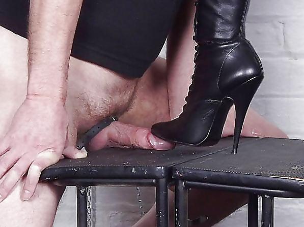High heel cock torture