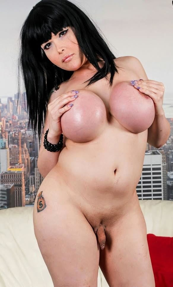 Big breasts shemale teasing and strokes her fat hard cock