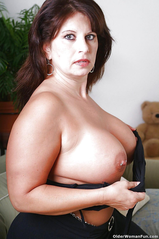 Older huge tit brunette