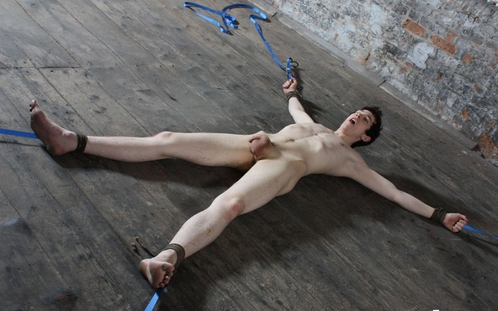 Young twink in bondage fucked bareback by hung top