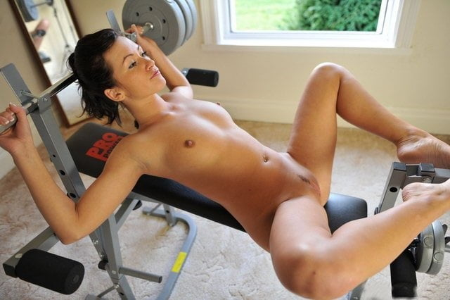 Sexy Fit Woman Lifting Weights Nude